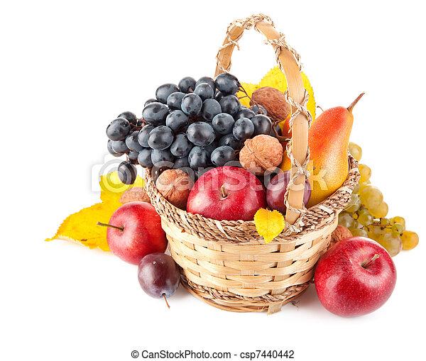 autumnal fruit in basket - csp7440442