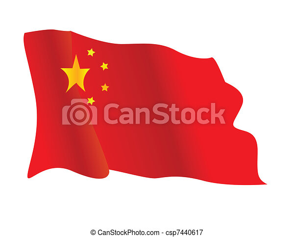 Chinese flag waving in the wind - csp7440617