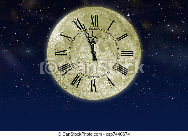 The moon with arrow clock in the star sky - csp7440674