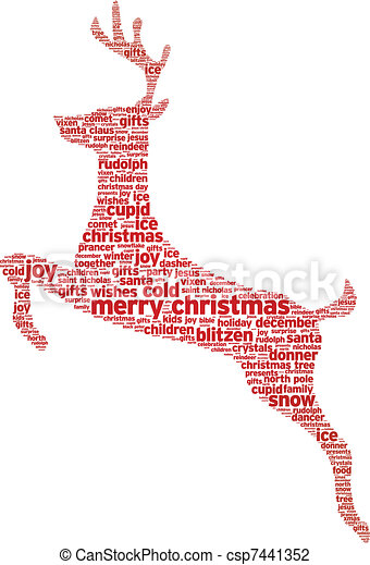 Vector Illustration of Christmas Reindeer - Reindeer christmas word ...