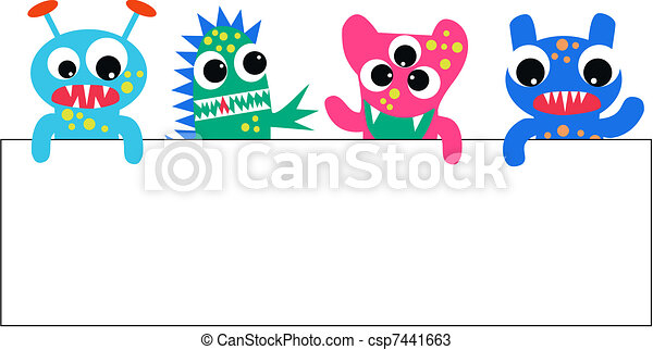 colourful monsters with a placard - csp7441663
