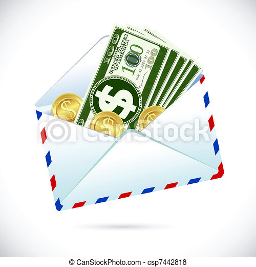 Dollars in Envelope - csp7442818