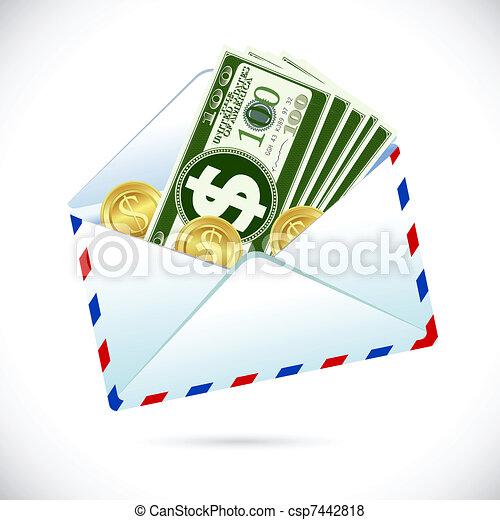 Dollars in Envelope - csp7442818