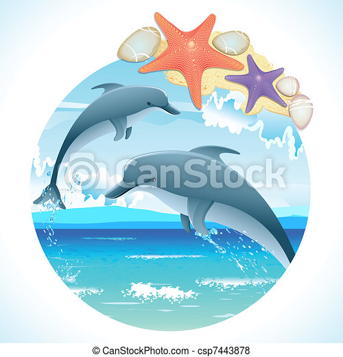 Jumping Dolphins - csp7443878