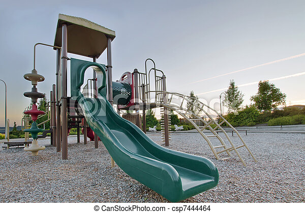 Neighborhood Public Park Children's Playground Gym Structure - csp7444464