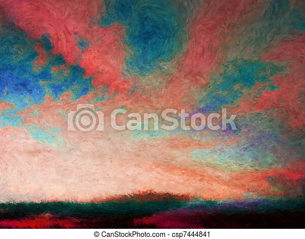 Impressionist skyscape - csp7444841
