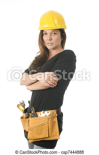 female lady contractor builder with protective hard hat helmet and tool belt tools - csp7444888
