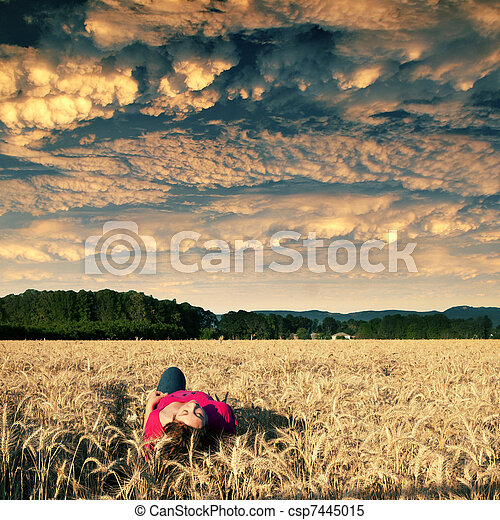 Golden Field Solitude - csp7445015