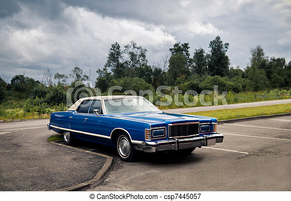 Blue American retro sedan at the parking - csp7445057