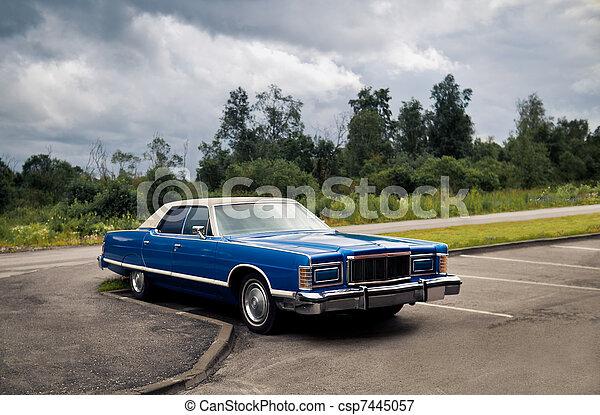 Blue American retro sedan at the parking - csp7445057