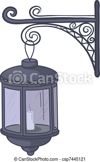 Vector Clip Art of Vintage lantern - Antique lantern with ...
