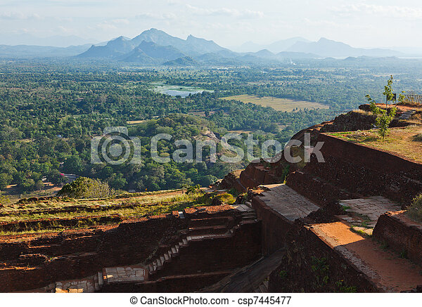 View and ruins on top of Sigiriya rock - csp7445477