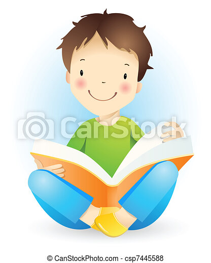 Reading boy. - csp7445588