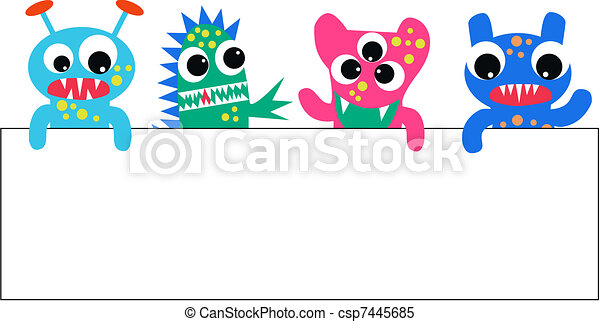 monsters with a placard - csp7445685