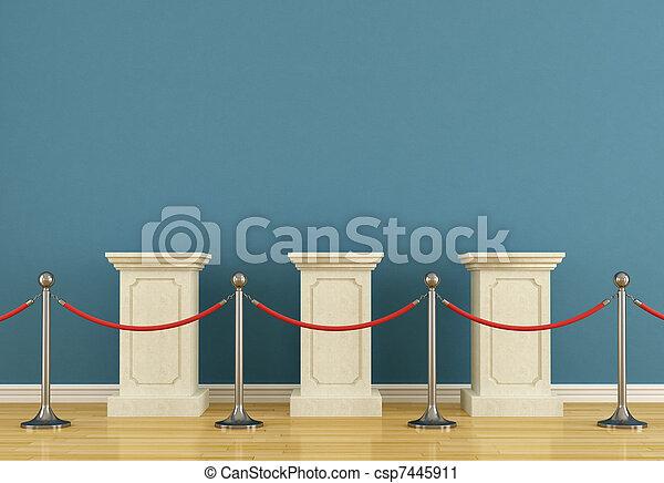 Blue museum with pedestal - csp7445911