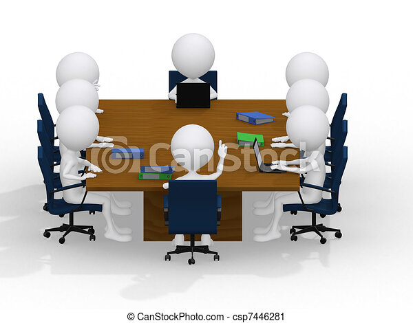 business group meeting portrait - eight business people working together. A diverse work group.  - csp7446281