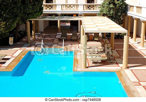Modern luxury villas with swimming pool at luxury hotel, Crete, Greece
