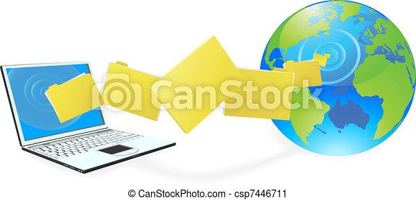 computador portatil, computadora, Cargar, o, Descargar, archivos - csp7446711