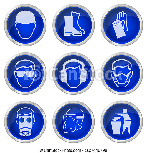health and safety buttons  - csp7446799