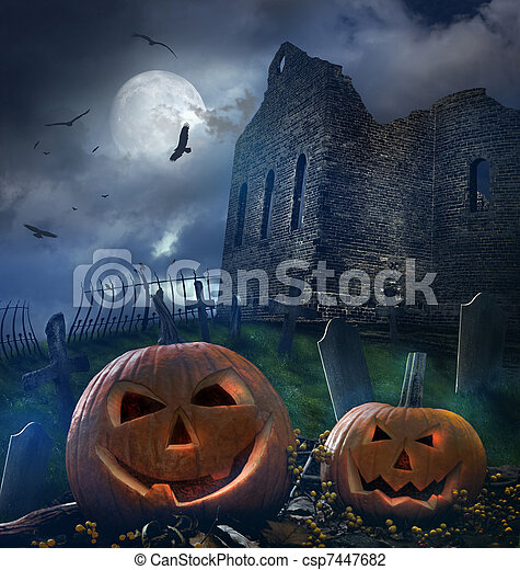 Pumpkins in graveyard with church ruins - csp7447682