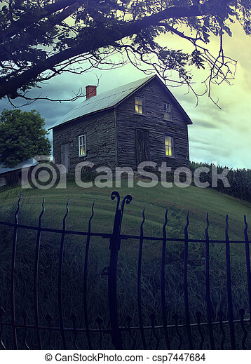 Abandoned haunted house on the hill - csp7447684