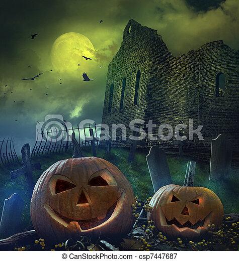 Pumpkins in graveyard with church ruins - csp7447687