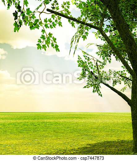 Beautiful spring scenery - csp7447873
