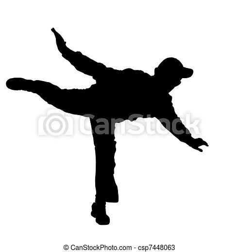 man balancing on one foot - csp7448063