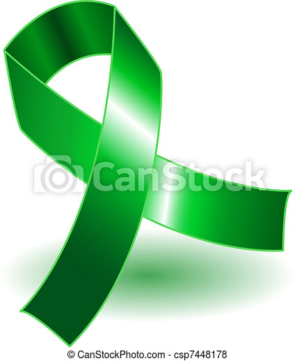 Green awareness ribbon and shadow - csp7448178