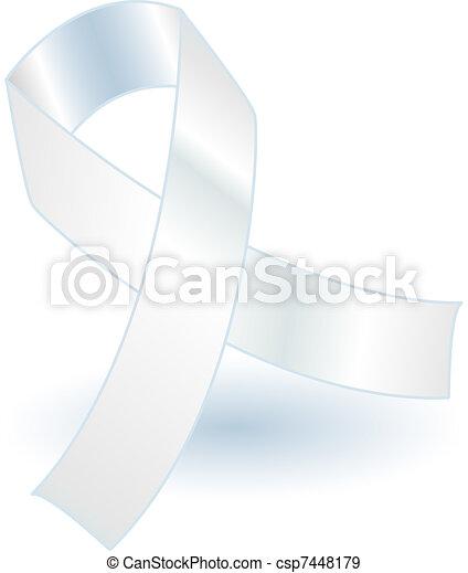 White awareness ribbon and shadow - csp7448179