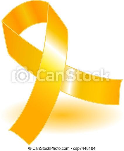 Yellow awareness ribbon and shadow - csp7448184