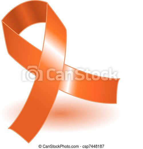 Orange awareness ribbon and shadow - csp7448187