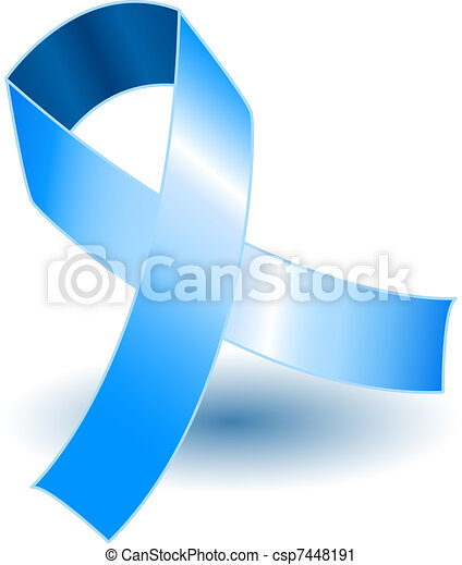 Pale blue awareness ribbon and shadow - csp7448191