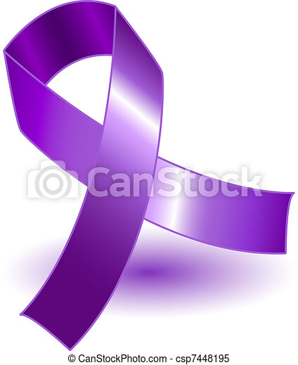 Purple awareness ribbon and shadow - csp7448195