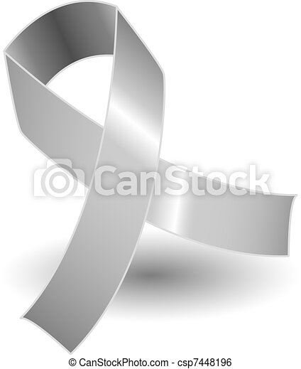 Silver awareness ribbon and shadow - csp7448196