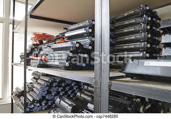 Laser cartridges on the shelves - csp7448280