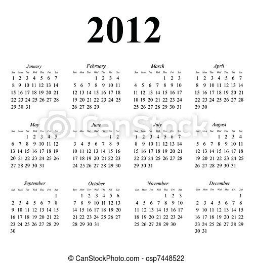 2012 calendar - csp7448522