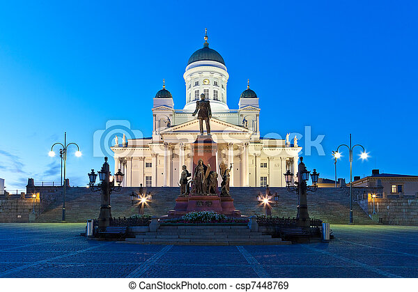 Senate Square at night in Helsinki, Finland - csp7448769