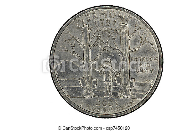 Stock Photography of US Quarter for Vermont State Closeup ...