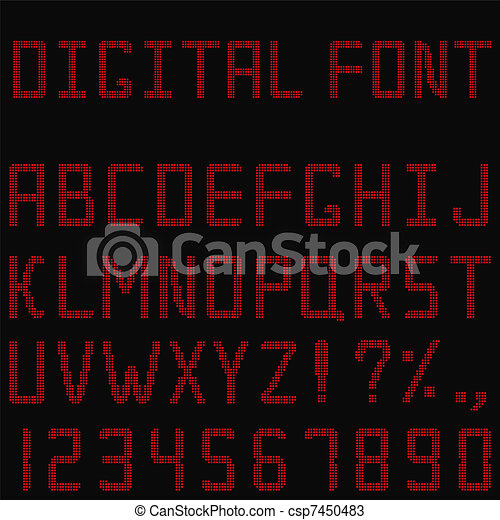 Vector Red Digital Font - csp7450483