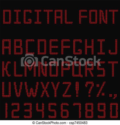 Vector Red Digital Font - csp7450483