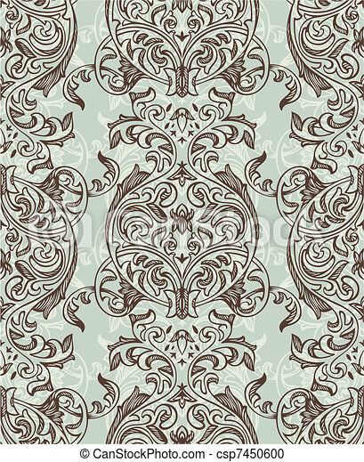 retro seamless floral pattern - csp7450600