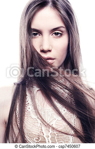 Fashion portrait of young beautiful elegant woman. Close-up - csp7450607