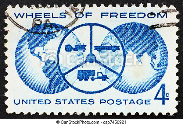 UNITED STATES OF AMERICA - CIRCA 1960: a stamp printed in the United States of America shows Globe and steering wheel with tractor, car and truck, National automobile show, Detroit, circa 1960 - csp7450921