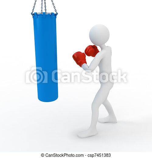 Boxer boxing with punching bag - csp7451383