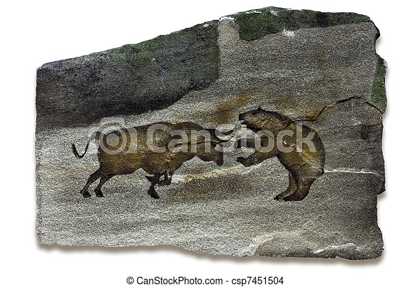 Bull and Bear Markets Cave Painting - csp7451504
