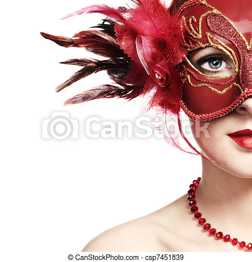 The beautiful young woman in a red mysterious venetian mask - csp7451839