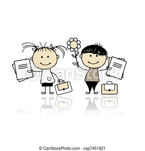 Children with school books - csp7451921