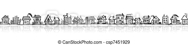 Cityscape sketch, seamless wallpaper for your design - csp7451929