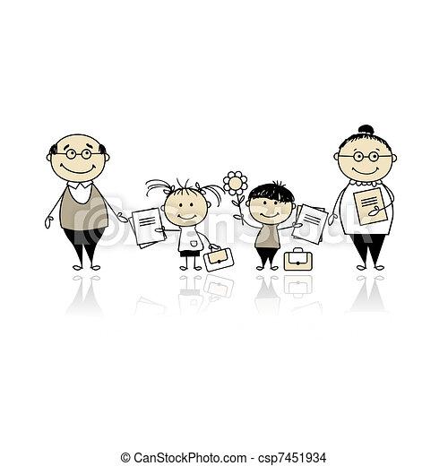 Back to school, children with parents - csp7451934